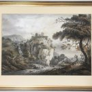 Castle in a Landscape Antique Watercolour Painting Paul Sandby R.A. (1731-1809)