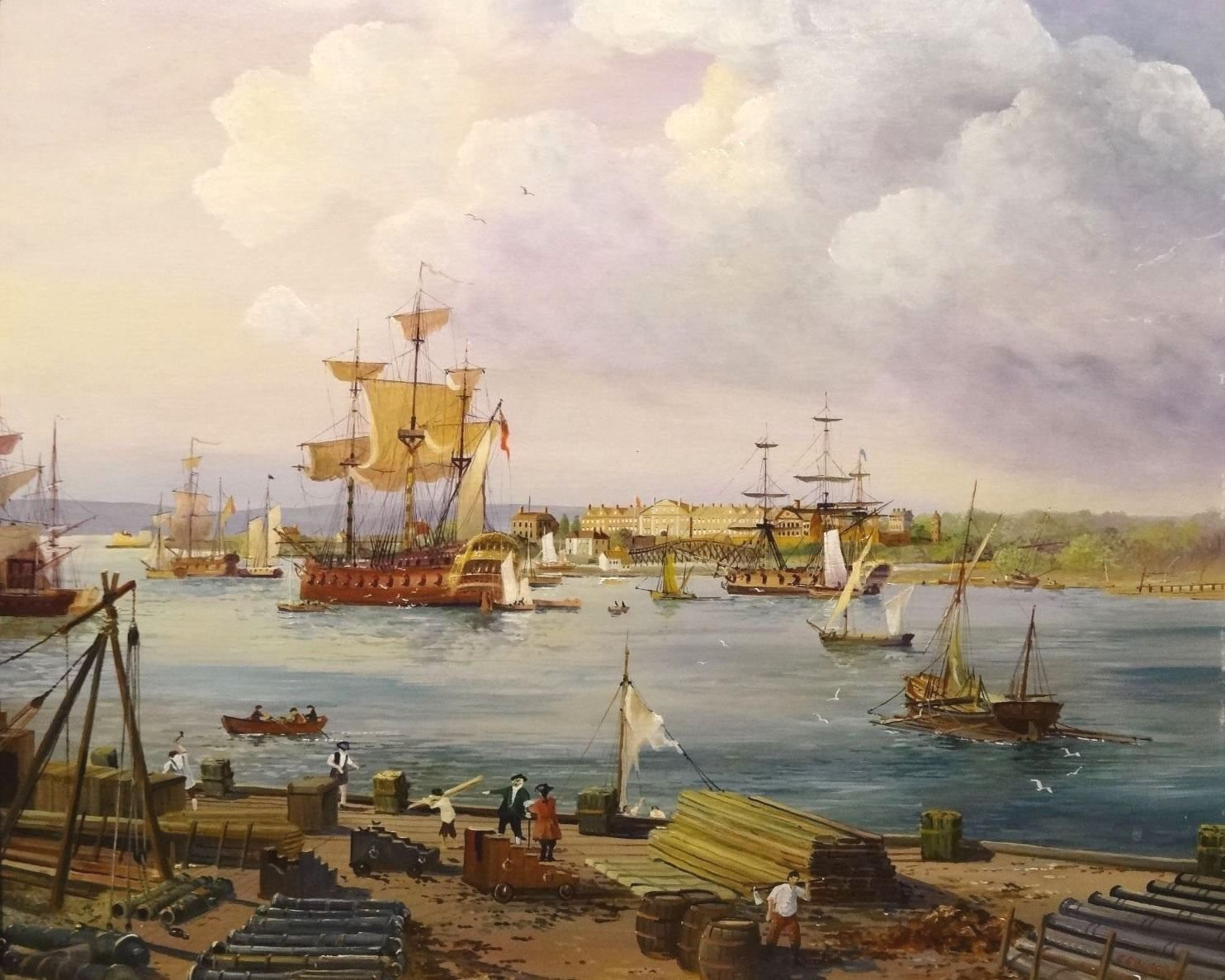 Fine View of 1798 The Gunwharf Portsmouth Dockyard Ships Landscape Oil Painting by E G Burrows