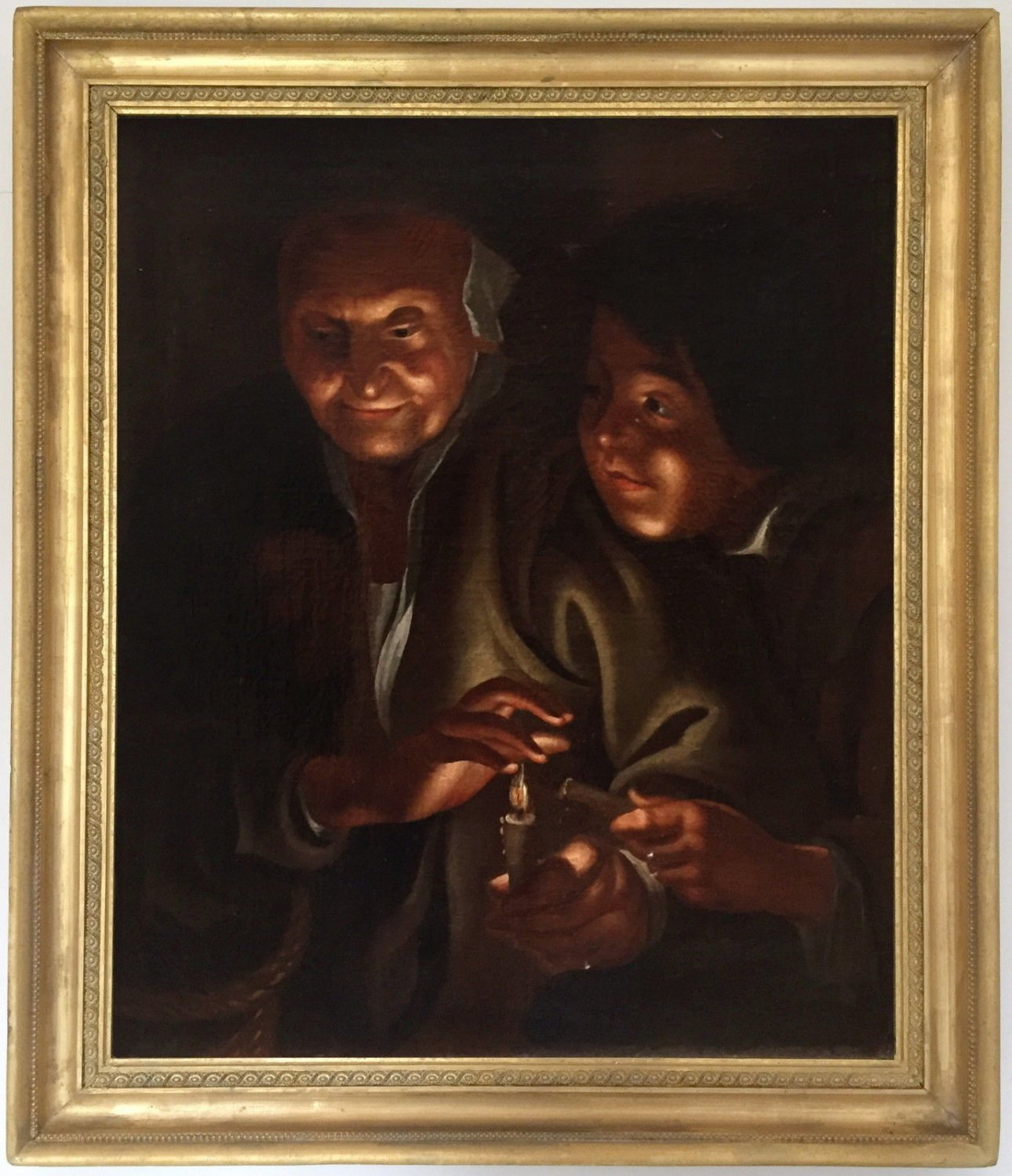 Figures by Candlelight Old Master Oil Painting Godfried Schalcken (Dutch, 1643-1706
