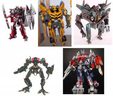 Transformers Set . Optimus ,Bumblebee, Starscream , The Falen and Sentinel Prime