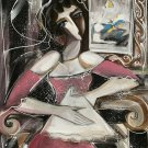 HUGE CUBIST ABSTRACT SEATED LADY IN INTERIOR .
