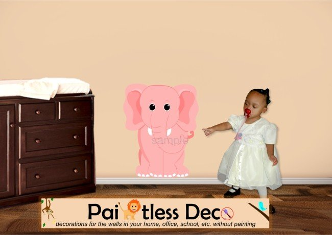 Pink Elephant Wall Decal SMALL (full color) -ec