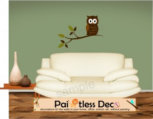 Fancy Owl Sitting Tree Branch Wall Decal -ec