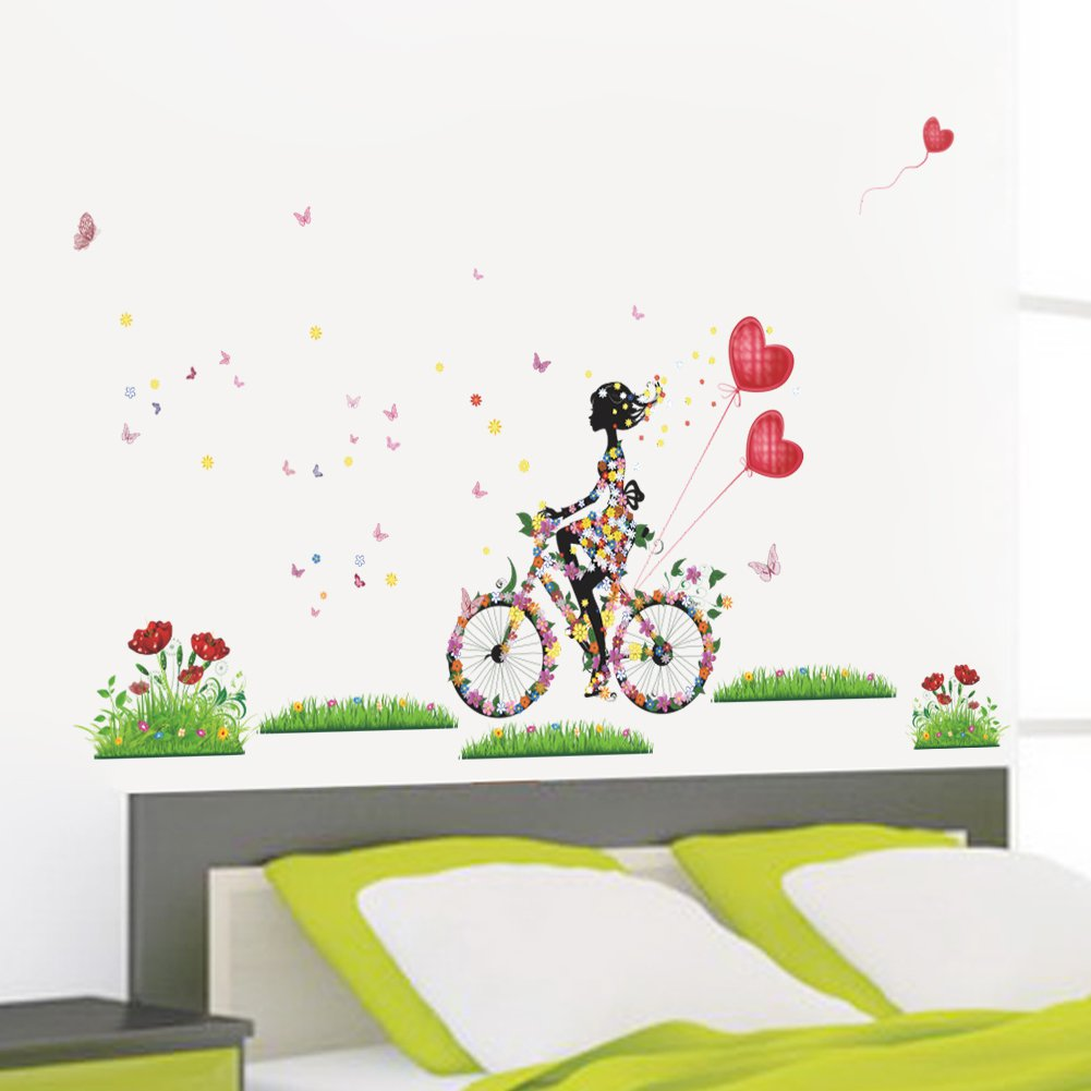 """Lovely Girl Biking Through the Meadows 
