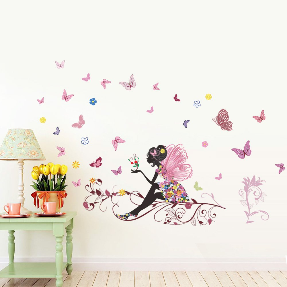 """Floral Fairy Playing with Butterflies 