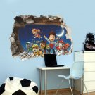 Nickelodeon Paw Patrol breaking through the wall | 3D Removable Wall Sticker/Decal for Kids Rooms