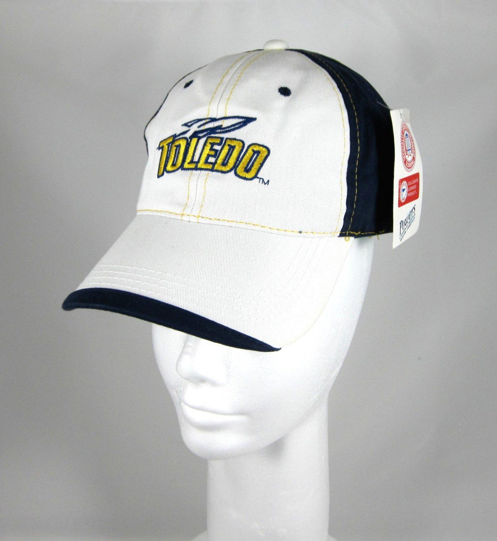 White and Blue Twill Toledo Athletic Logo Cap