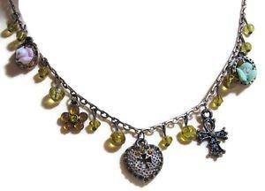 "Fashion Necklace Heart Cutout Cross Quinceanera Vibrant Colors Rose 19"" Adjustab"