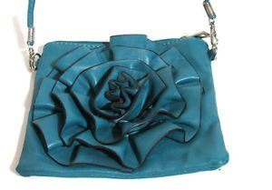 """Perfect size Cute Cross-body Purse Clutch Green Teal color Flower 7"""" Handmade sm"""
