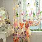 2pc Butterfly Tulle Voile Door Window Curtains Panels Sheer Scarf Valance 7ftx3'