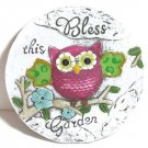 "Garden Round Stone Owl ""Bless this Garden"" sign decoration 6"" Diameter Colorful"