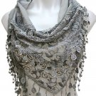 NEW Ole Lace Floral Scarf Gray Headscarf Wrap Hand Embroidery Triangle 5 feet