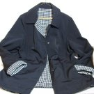 Houndstooth Reversible Vintage Coat Jacket size L Black Rainproof; pockets both