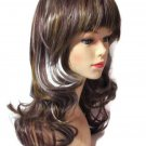Gorgeous Wig Wavy Long Brown Hair with Silver and Gold Highlights Bangs USA ship