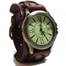 Retro Unisex Steam Punk Biker Wrist Watch Wide Leather Bracelet Cuff ReddshBrown