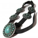Turquoise Silver Concho Belt Taos Soft Leather 30 inch waist