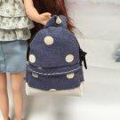 "Blue Polka Dot School Bag for 12"" Doll /Blythe/Barbie/Pullip/Jenny/Licca Doll"