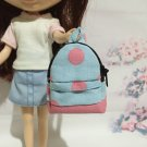 "Blue With Pink Big Polka Dot School Bag for 12"" Doll /Blythe/Barbie Doll"