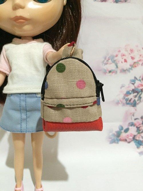 "Brown With Multi Color Polka Dot School Bag for 12"" Doll /Blythe/Barbie Doll"