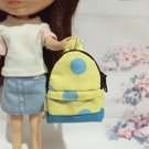 "Yellow With Blue Big Polka Dot Backpack for 12"" Doll /Blythe/Barbie Doll"