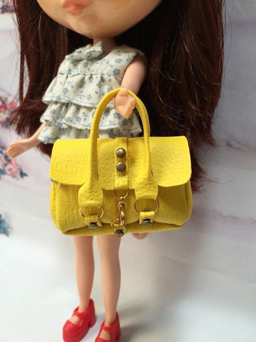 Dollhouse Miniatures Yellow Fashion Handbag for Blythe/Barbie/Pullip/Licca Doll