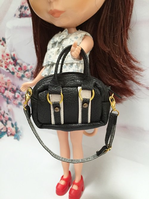 Dollhouse Miniatures Black&White Fashion Bag For Blythe/Barbie/Jenny/Pullip Doll