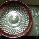 "INDIANA GLASS RUBY BAND DIAMOND POINT CRYSTAL 13"" SALAD BOWL 3 PC SET w/BOX: NEW"