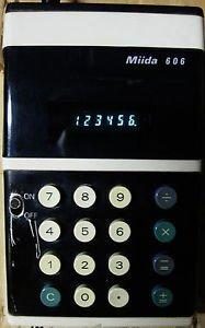 MIIDA 606 HANDHELD CALCULATOR BLUE VFD 1970s AC ADAPTER OWNERS MANUAL WORKS: EX
