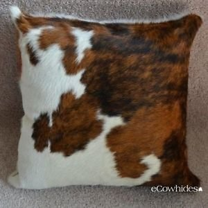 Tricolor Cowhide Throw Pillow