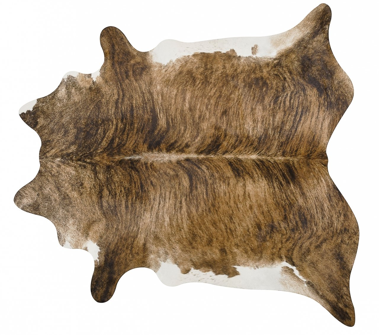 Brindle White Belly and Backbone Brazilian Cowhide Cow Hide Area Rugs - Size Large