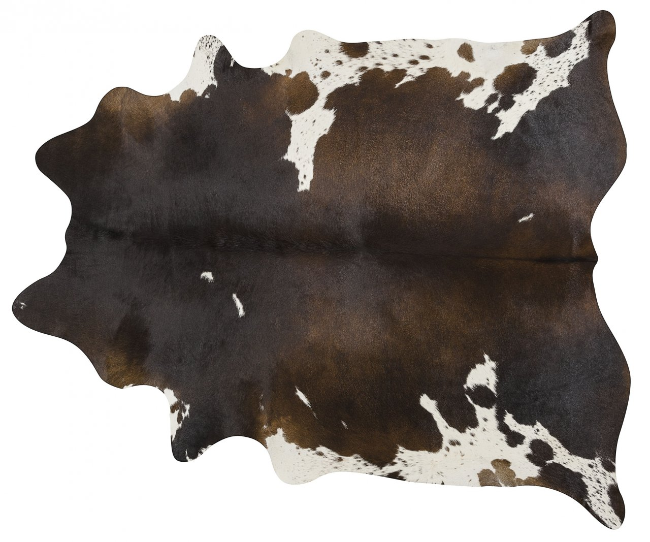 Chocolate and White Brazilian Cowhide Rug Cow Hide Area Rugs - Size XL