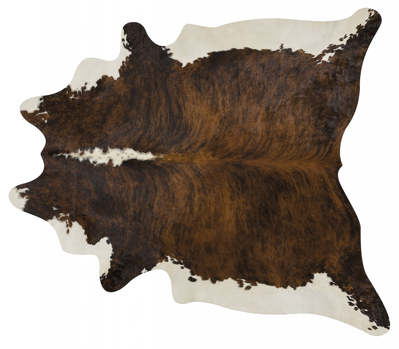 Brindle White Belly and Backbone Brazilian Cowhide Cow Hide Area Rugs - Size XL