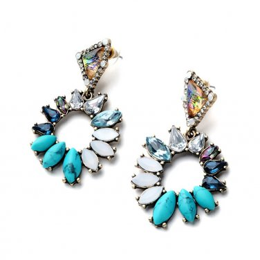 Turquoise Hoops, Crystal Jewelry, Crystal Hoops, Quartz Jewelry