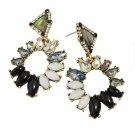 Black Onyx Crystal Hoop Earrings