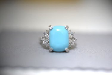 Turquoise & Topaz Sterling Silver Ring - Size 7