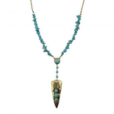 Bohemian Turquoise Necklace - Burnished Gold