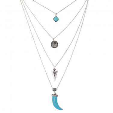 Multi-layered Boho Necklace -Silver