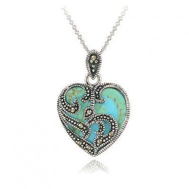 Turquoise Heart  Marcasite Pendant Necklace