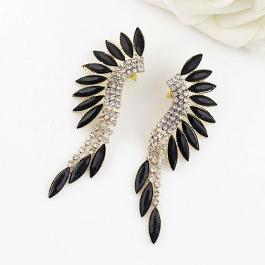 Cuff Wing Earring - Gold and Crystal - Angel Wing Drop Earrings