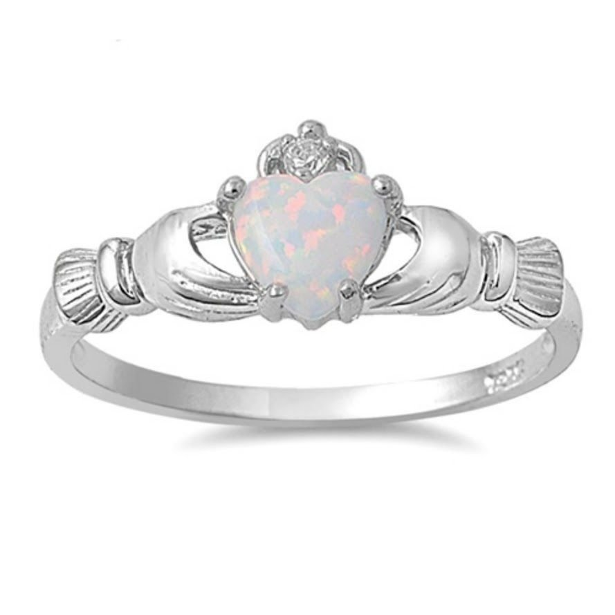 Heart CZ Crown Claddagh White Opal Love  Sterling Silver Ring Free Shipping