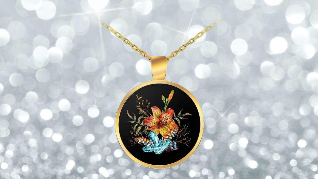 Tiger Lily Bouquet - Gold Plated Necklace v2