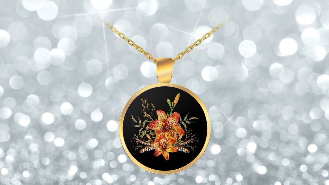 Tiger Lily Bouquet v2 - Gold Plated Necklace v2