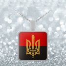 Stylized Tryzub And Red-Black Flag v2 - Necklace - Patriotic Ukrainian Trident