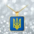 Tryzub (Yellow) v2 - Gold Plated Necklace - Patriotic Ukrainian Trident Ukraine