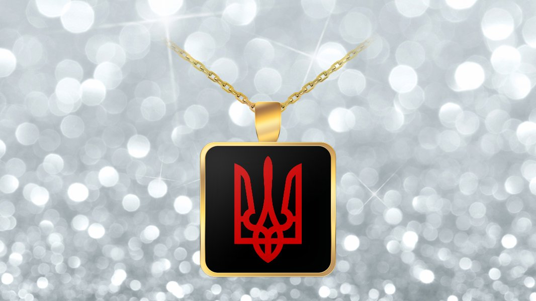 Tryzub (Red) v2 - Gold Plated Necklace - Patriotic Ukrainian Trident Ukraine