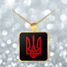 Tryzub (Red) v2 - Gold Plated Necklace - Patriotic Ukrainian Trident Ukraine
