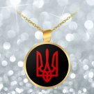 Tryzub (Red) - Gold Plated Necklace - Patriotic Ukrainian Trident Ukraine