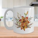 Tiger Lily Bouquet v2 - 15oz Mug - White Ceramic Novelty Coffee / Tea Cup / Mug
