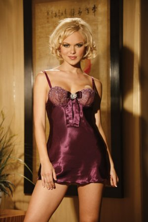 CHARMEUSE BABY DOLL AND MATCHING G-SRTING SIZE (LARGE 37-40)