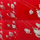Indian AD Pendant Fashion Gold & Silver Tone Chain Necklace Earrings Jewelry Set
